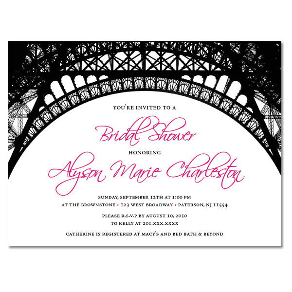 Paris Theme Custom Invitations