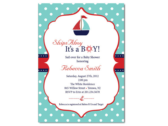Sailboat Baby Shower Invitation on Luulla